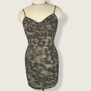 Sexy hugging Marciano camo stretch midi dress.